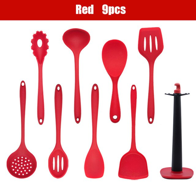 7/9/11pcs Kitchenware Silicone Spatula Cook Non-stick Utensil Sets Turner Ladle Spoon Pasta Server Anti-scalding Pan Accessories