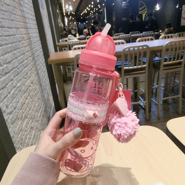 CUTE Girl Water Bottle 500ML 350ML Plastic Drinkware Tour Outdoor Sport School Leak Proof Seal Gourde Climbing Water Bottles