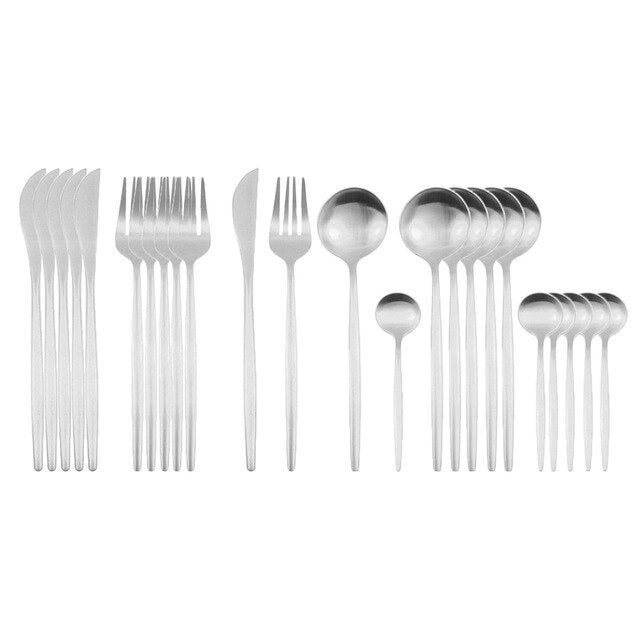 24Pcs Dinnerware Set Black Gold 18/10 Stainless Steel Cutlery Spoon Fork Knife Western Tableware For Kitchen Dinner Flatware Set