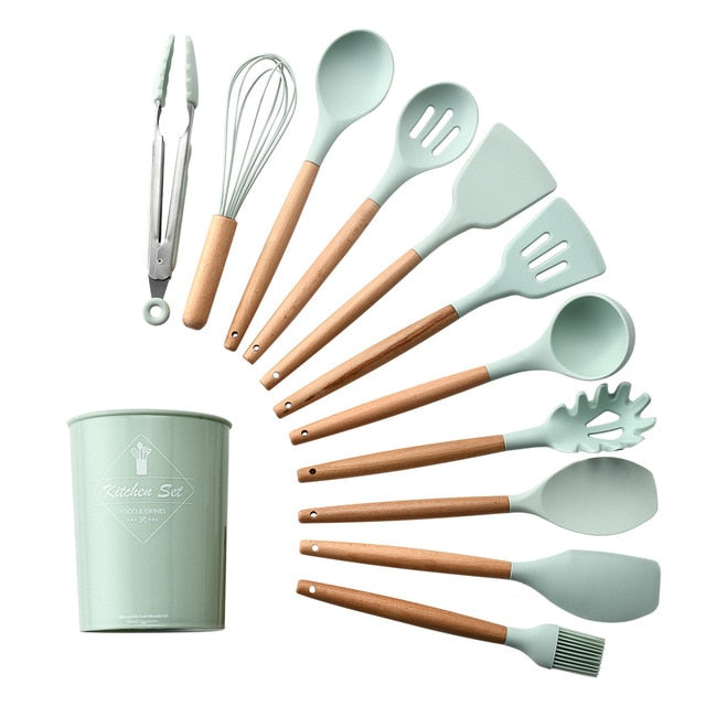 9/12pcs Silicone Kitchen Tools Set Wooden Handles Kitchenware Cooking Utensils Soup Spoon Spatula Oil Brush Nonstick Cookware