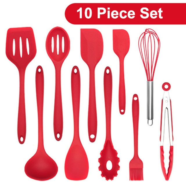 IWELAI Silicone Kitchenware Cooking Utensils Set Heat Resistant Kitchen Non-Stick Cooking Utensils Baking Tools