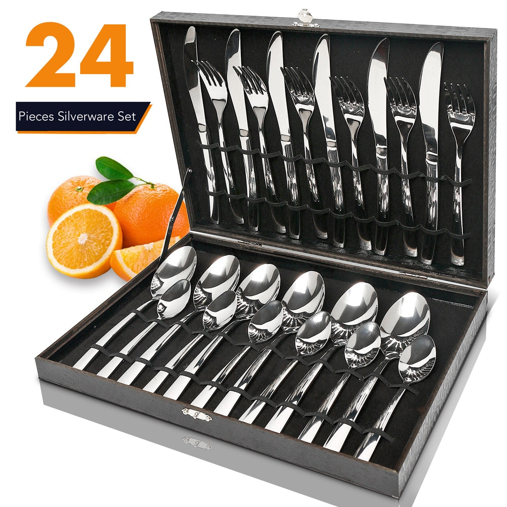 24 PCS Cutlery Set Silverware Wooden Box Stainless Steel Mirror Polishing Sets Tableware Spoon Flatware Dinnerware Wood Gift Box
