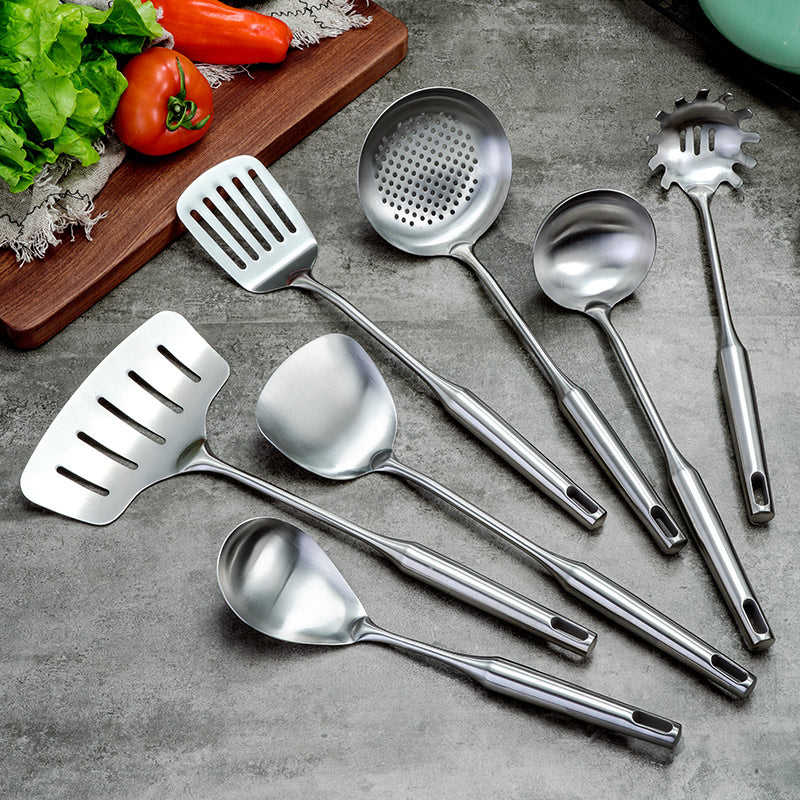 7PCS Stainless Steel Cookware Set Kitchen Shovel Fish Turner Soup Spoon Pasta Server Strainer Cooking Tools Utensils Kitchenware