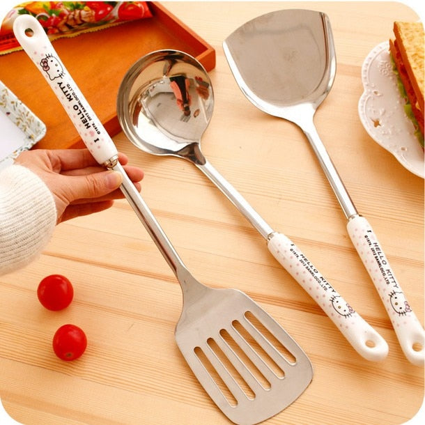 7pcs Hello Kitty Stainless steel kitchenware set Steak frying shovel Spatula Soup spoon Noodle spoon Kitchen cooking tools
