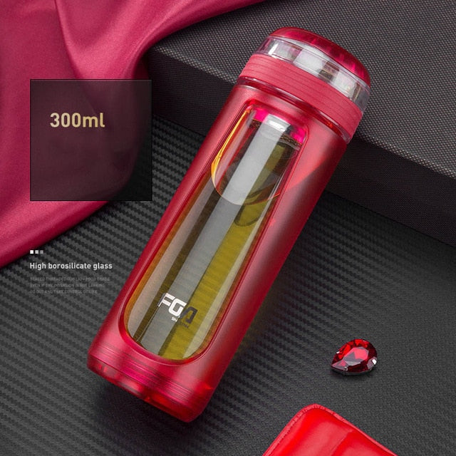JOUDOO High Borosilicate Glass Water Bottle Glass&Plastic Travel Tea Bottle with Strainer Heat Resistant Car Drinkware Bottle