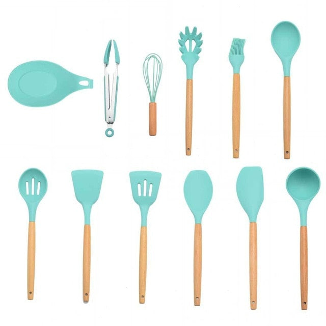 9/10/11/12PCS Silicone Cooking Utensils Tools Set Non-stick Spatula Shovel Wooden Handle Baking Kitchenware Kitchen Accessories