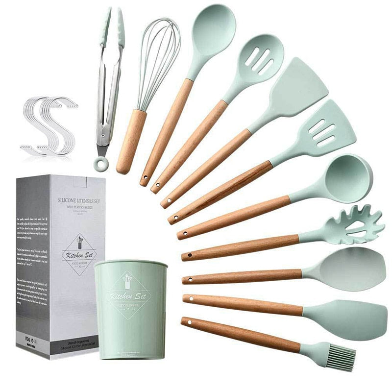 13pcs Kitchen Utensil Set High Quality Silicone Cooking Tools Set Household Wooden Handle Turner Cooking Various Kitchenware Set