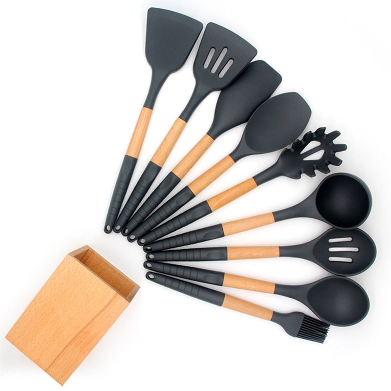 Kitchenware Silicone Kitchenware 9 Piece Set Non-slip Handle Nonstick Cookware Cooking Spatula Kitchen Tool