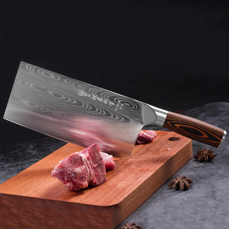 Deng knife High-grade handmade forged blade carbon steel kitchen knife Chinese chef knife vegetable cleaver kitchen Colour wood