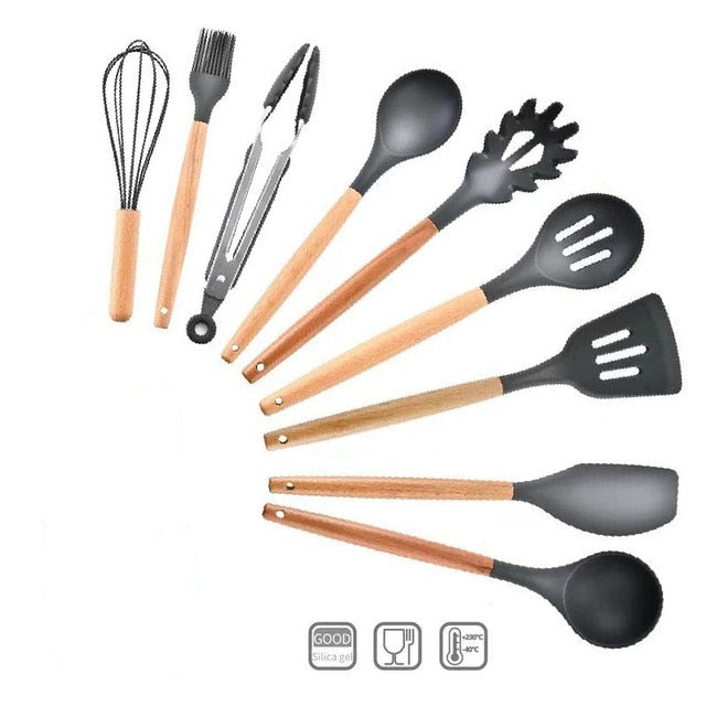 Silicone Kitchen Cooking Utensils Tools Set Non-stick Spatula Shovel Baking Kitchenware Cookware Kitchen Accessories Gadgets