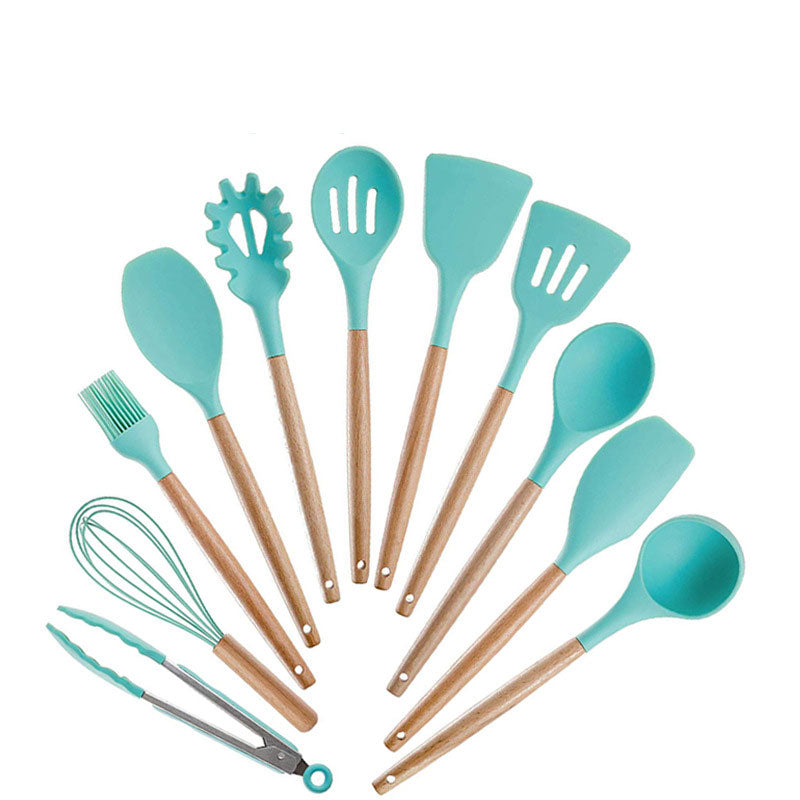 11PCS Wooden Kitchenware Sets Handle Non-stick Pot Silicone Spatula Kit Gadget Spatula Tongs Ladle Utensils Food Grade Cookware