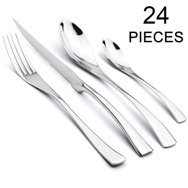 JANKNG 24Pcs 18/10 Stainless Steel Dinnerware Set Black Dinner Spoon Fork Knife Cutlery Set Tableware Set Service For 4 or 6