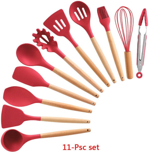10/11/12PCS Silicone Kitchenware Cooking Utensils Set Heat Resistant Kitchen Non-Stick Cooking Utensils Baking Tools Storage Box