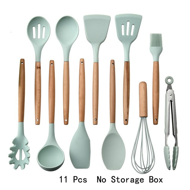 Silicone Cooking Utensils  Spatula Spoon Household Non-stick Spatula Shovel Wooden Handle Turner Cooking Various Kitchenware Set