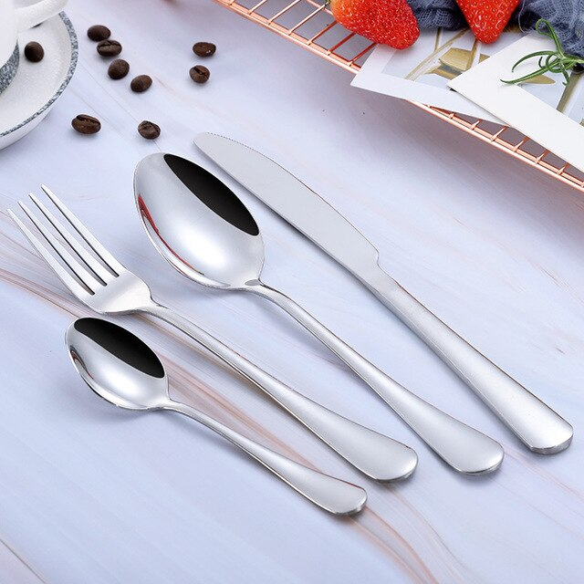 Pink Gold Forks Spoons Knives Cutlery Set 24 Pcs Set Cutlery Knives Sets Wedding Tableware Stainless Steel Flatware Cutlery Gold