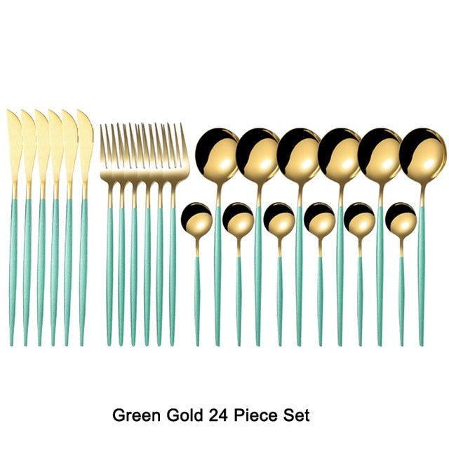 24Pcs Gold Dinnerware Set 18/10 Stainless Steel Cutlery Set Tableware Dinner Knife Fork Spoon Flatware Set Dishwasher Safe