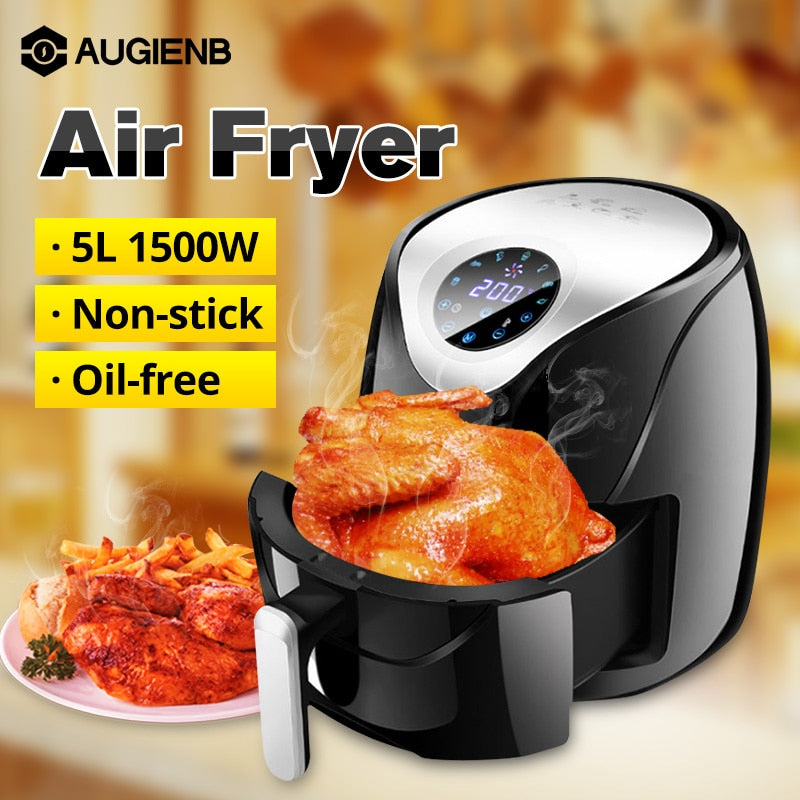 1500W 5.5L Oil free Air Fryer Health Fryer Cooker LCD Smart Touch Airfryer Pizza Multi function Smart Fryer for French fries