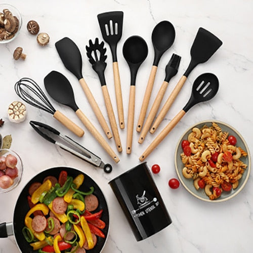 Silicone Kitchenware Set Heat-Resistant Kitchen Utensils Non-Stick Pan Easy Clean Cooking Spatula Set With Storage Box Tool