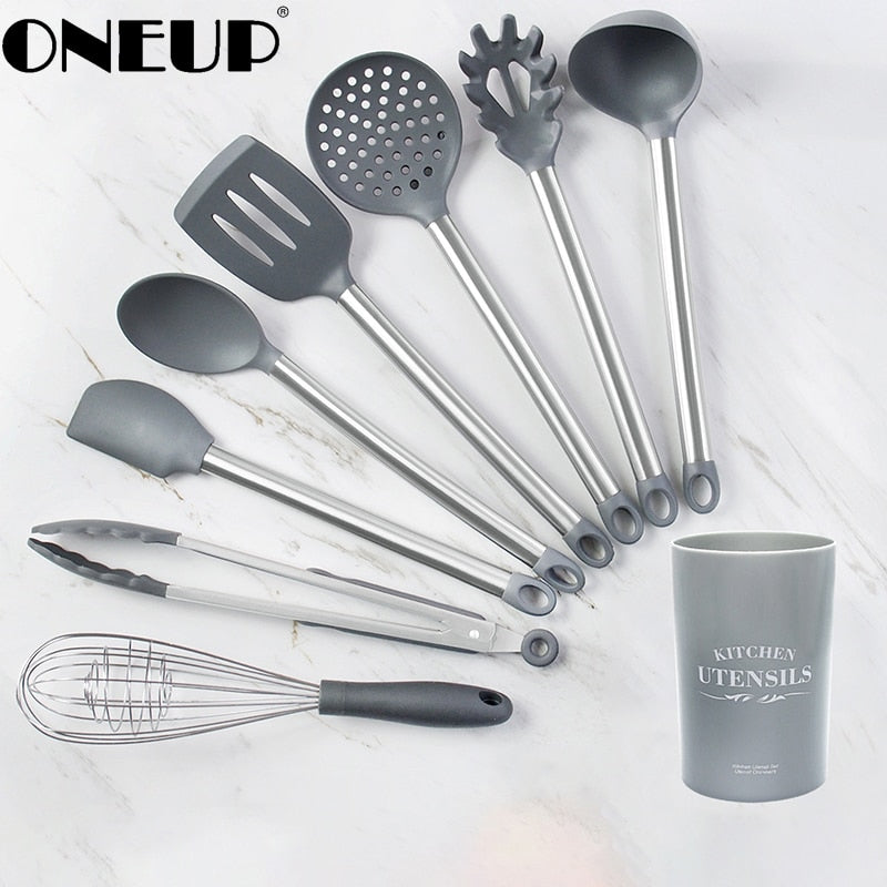 ONEUP Silicone Kitchenware Set Heat Resistant Cookware Spatula Shovel Soup Spoon with Wooden Handle Non-stick Kitchen Accessorie