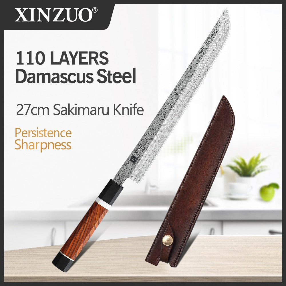 2020 XINZUO 270mm Japanese Sushi Knife 110 Layers Damascus Steel Sakimaru Kitchen Knives High Carbon Steel with Leather Sheath