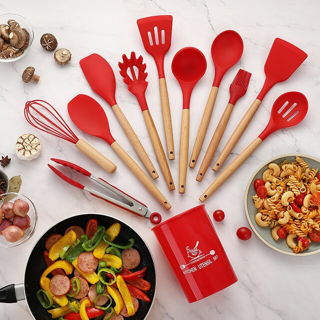 12Pcs Silicone Kitchenware Set Cookware Modern Non-Stick Wok Soup Cookware Spoon Kitchen Tools Kitchenware Bake Tool For Cooking