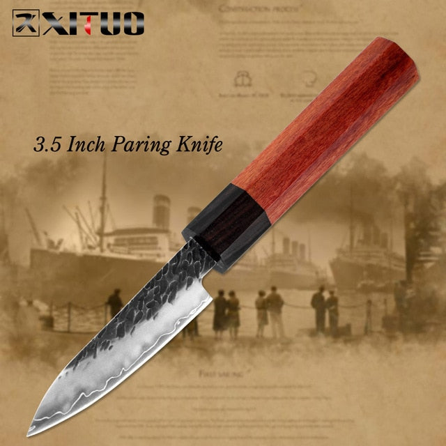 XITUO Kitchen Chef Knife Three-layer Steel Handmade Forged Sharp Cleaver Kiritsuke Boning Santoku Paring Knives Cooking Tools