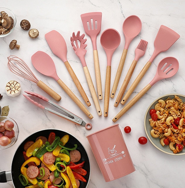 SET 11 PIECES COOKING TOOLS WOOD HANDEL Silicone Kitchenware Utensils Resistant Non-Stick Cooking Utensils Kitchen  Accessories