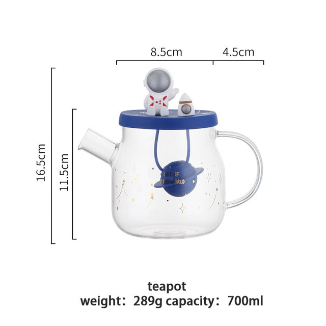 MDZF SWEETHOME Glass Cartoon Space Tea Cup Teapot With Filter Cold Water Kettle Heat Resistant Milk Mug Drinkware Birthday Gift