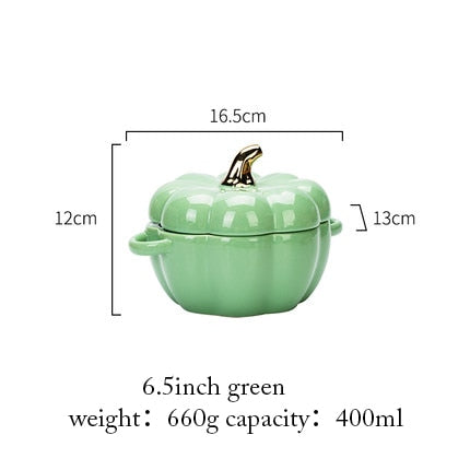 MDZF Pumpkin Shape Baking Bowl With Lid Glaze Au Gratin Soup Salad Bowl Kitchen Bakeware Oven Halloween Baking Pan Supplies