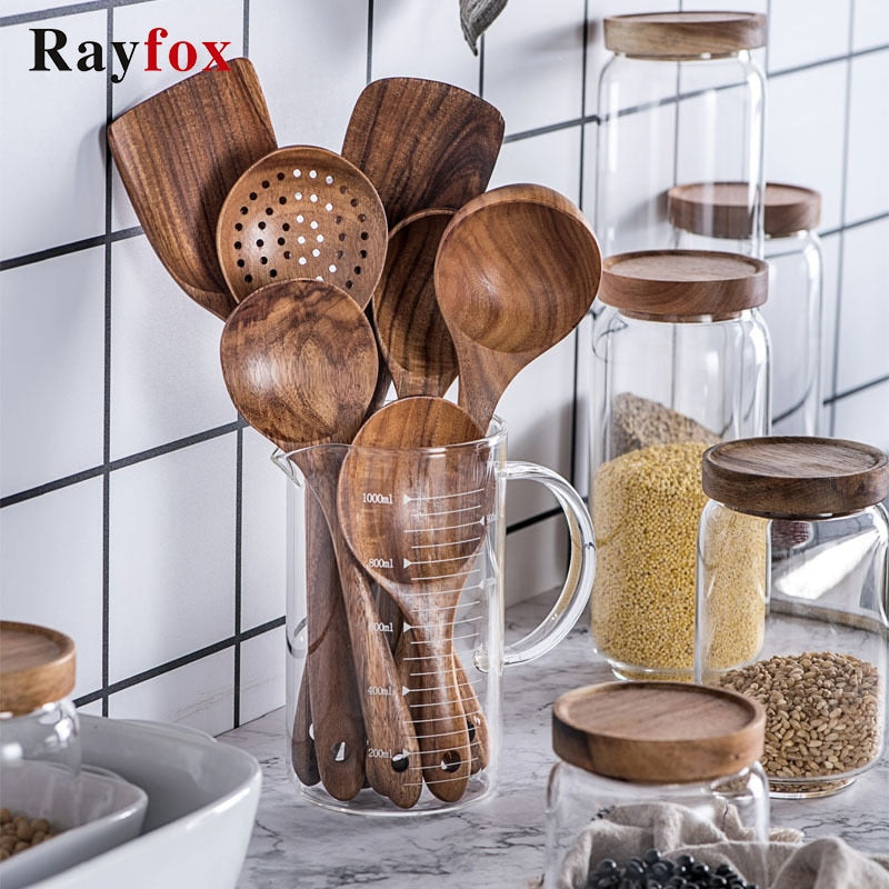 Thailand Teak Natural Wood Non-stick Kitchenware Spoon Turner Rice Colander Soup Skimmer Cooking Spoons Scoop Kitchen Tools Sets