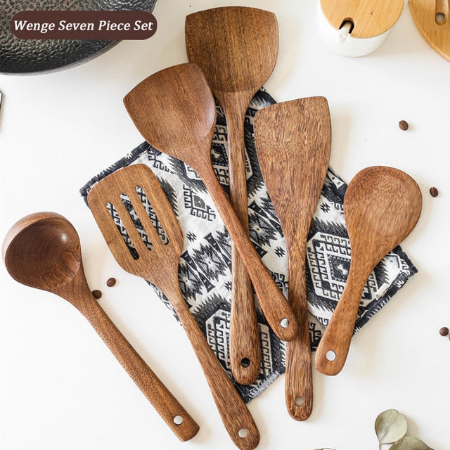 Kitchen Tools Set Natural Wenge Kitchenware Soup Spoon Ladle Turner Colander Nonstick Wooden Spatula Cooking Utensils Set