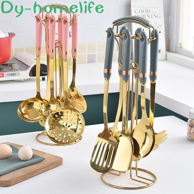 Stainless Steel Kitchenware Set Multicolor Ceramic Handle Golden Cooking Supplies Spatula Soup Spoon Household Kitchen Supplies