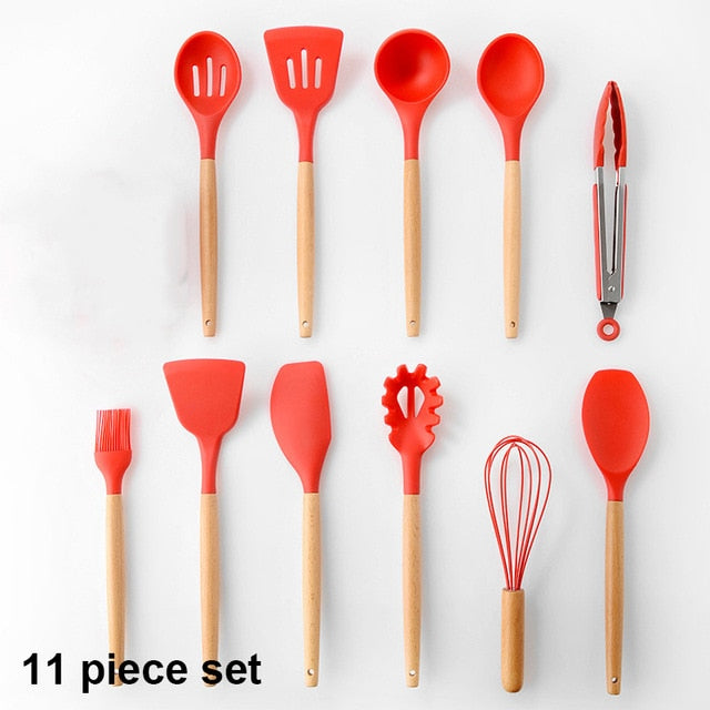 5 Color Silicone Kitchenware Cookware Kitchen Cooking Tools Utensils Set Heat Resistant Non-Stick Kitchen Accessories Utensils