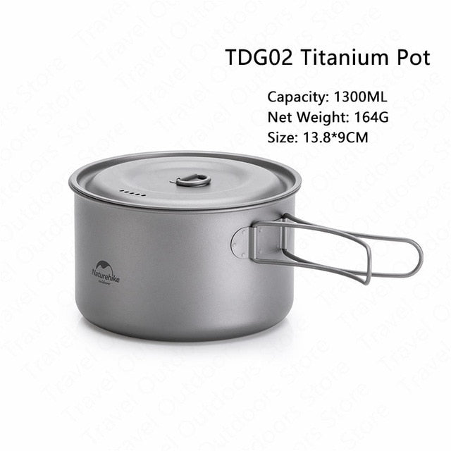Naturehike Titanium Tableware Outdoor Picnic Camping Cookware Ultralight Titanium Pot Pan 2-3 Persons Camping Picnic Cookware