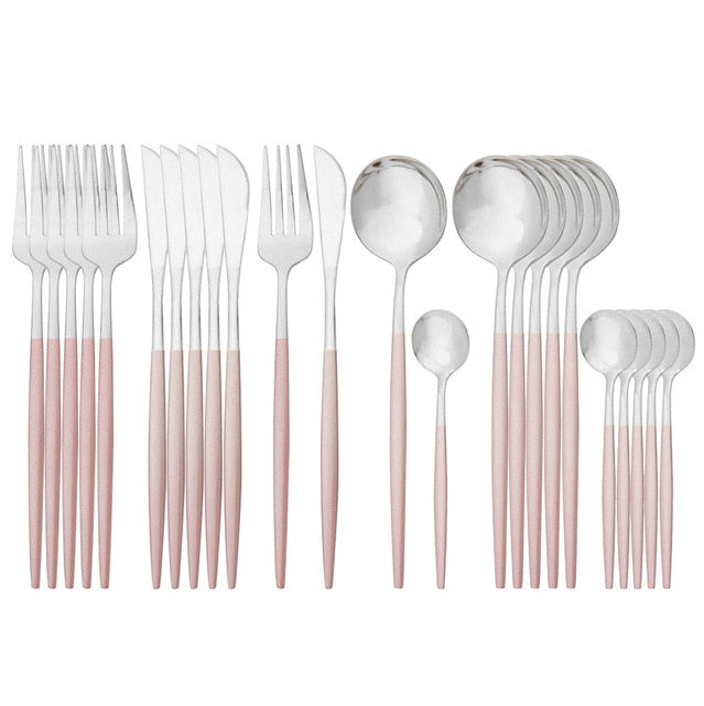 Pink Gold Cutlery Set Stainless Steel Dinnerware Set 24Pcs Knives Forks Coffee Spoons Flatware Set Kitchen Dinner Tableware Set