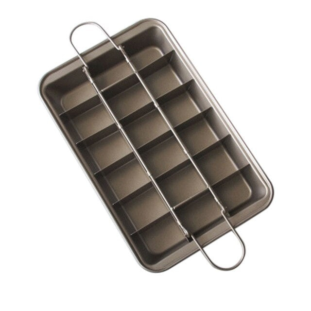 18 Cavity Brownie Bakeware Baking Tools Easy Cleaning Square Lattice Chocolate Cake Mold Brownie DIY Baking Pan Non-Stick Mold
