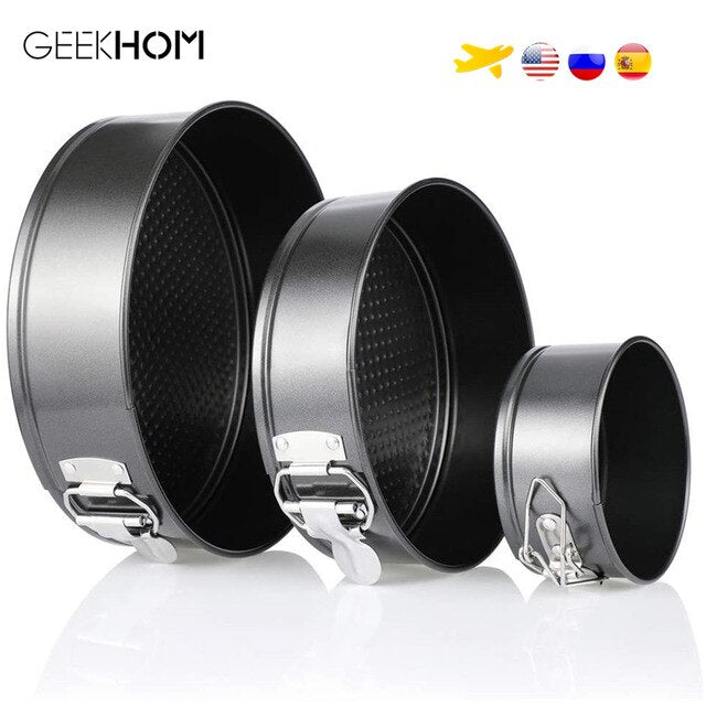 GEEKHOM Cake Pan Tin Round Baking Tin with Flat Base Round Cake Tin Baking Mold Set of 3 10/18/22 cm Cake Baking Tin Bakeware