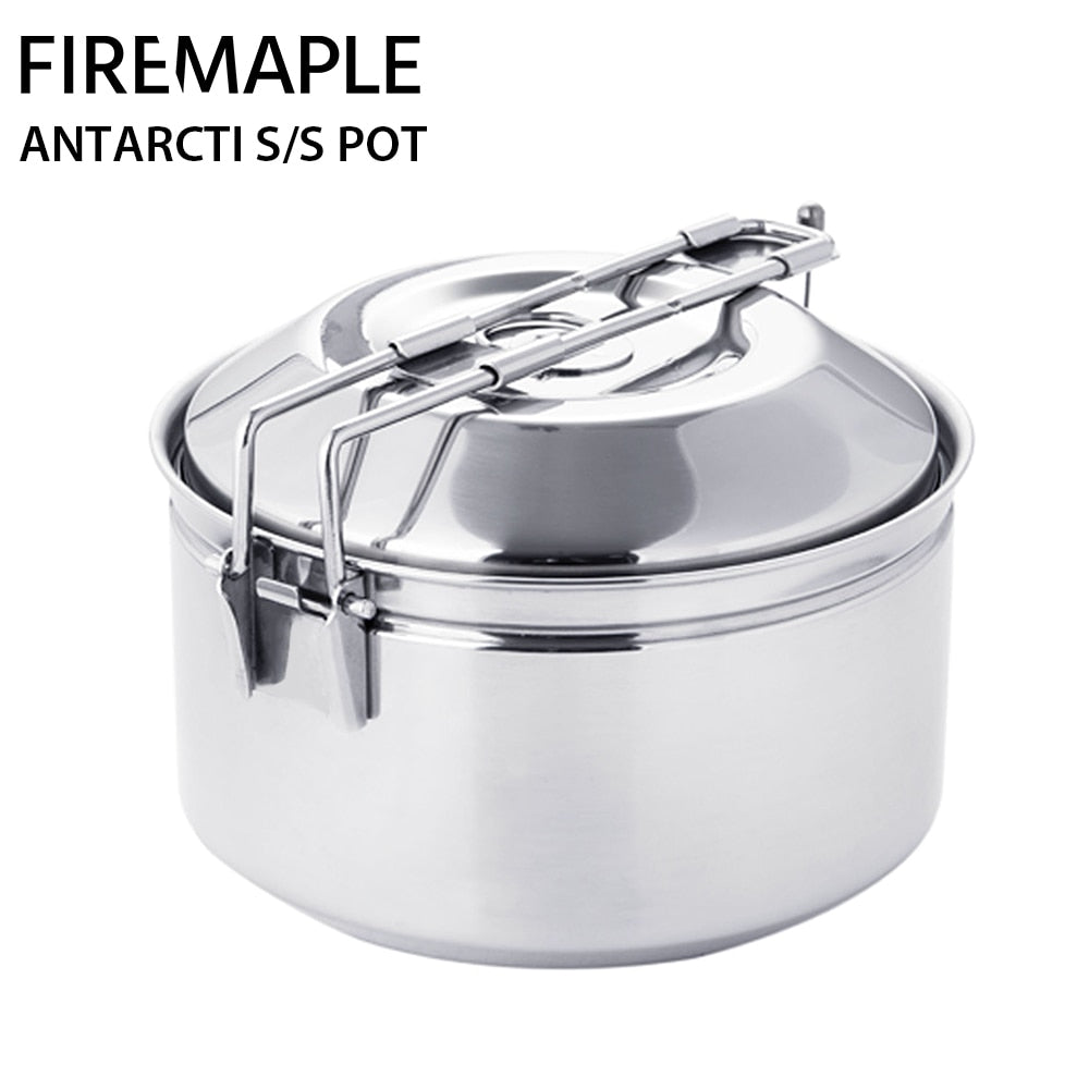 Fire Maple Antarcti Stainless Steel Cooking Pot Outdoor Foldable Camping Cookware S304 1L 402g