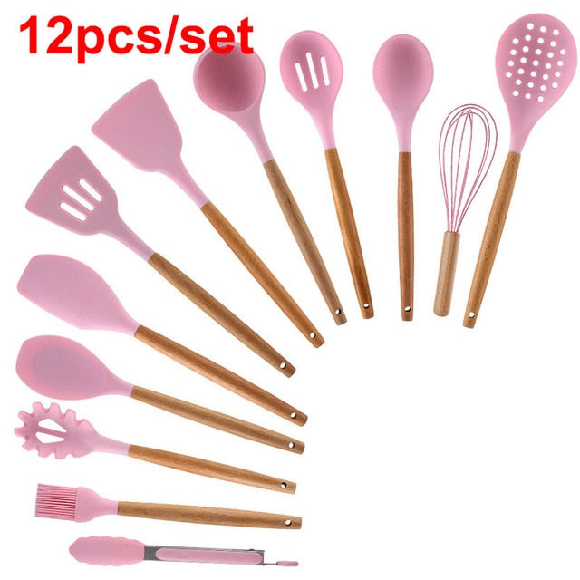 12/11/9PCS Silicone Kitchen Cooking Utensils Tools Set Spatula Shovel Baking Kitchenware Cookware Kitchen Accessories Gadgets