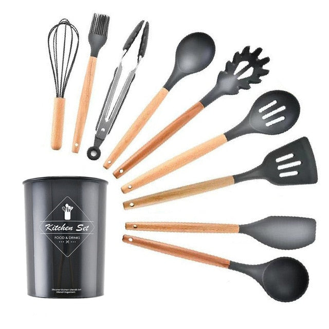 9/11Pcs Cooking Tools Set Kitchen Utensils Set Kitchenware Silicone Non-stick Spatula Spoon Cooking Tool Utensilios De Cocina