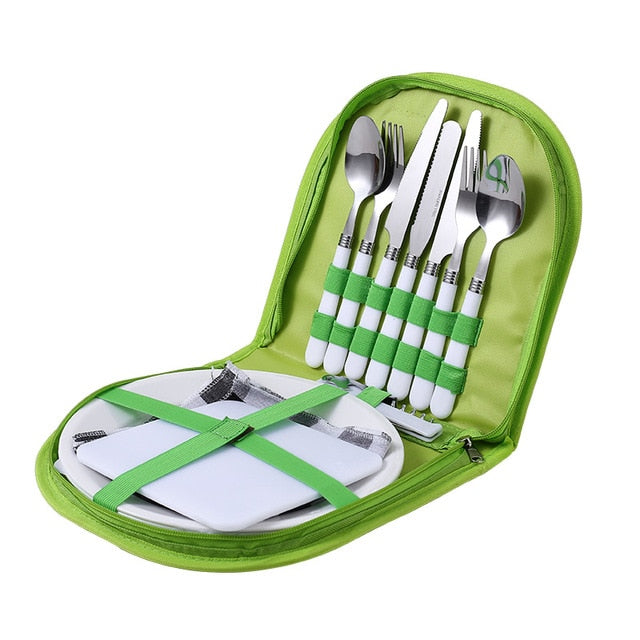Outdoor Picnic Camping Tableware Fork Spoon Knife Bottle Opener Stainless Steel Foldable Pocket Tableware Set Hike Kitchen Tools