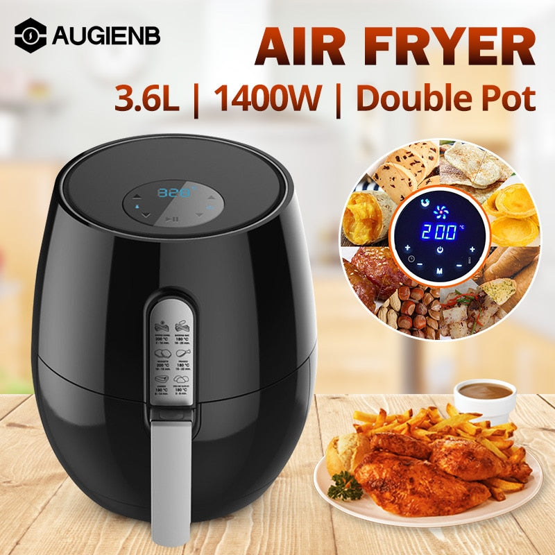 5.2L Air Fryer Oil free Health Fryer Cooker 1400W Smart Touch LCD Airfryer Pizza Multi function Smart Fryer for French fries