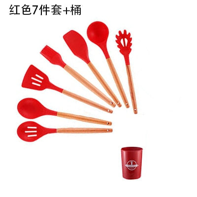 Duolvqi Silicone Cooking Tools Set Spatula Shovel Spoon With Wooden Handle Kitchenware Practical Kitchen Cooking Utensils