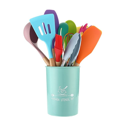 12-Piece Colorful Silicone Kitchenware Set Non-Stick Pan Cooking Spatula Spoon Wooden Handle Box High Temperature Resistance