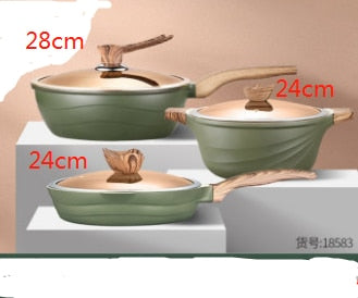 Maifanshi four piece pot set Household Nordic non stick pot Induction cooker wok suit kitchen pots and pans cookware set