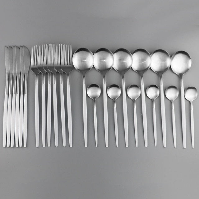24Pcs Rainbow Matte Cutlery Set 304 Stainless Steel Tableware Set Fork Spoon Knife Dinnerware Set Kitchen Dinner Silverware Set