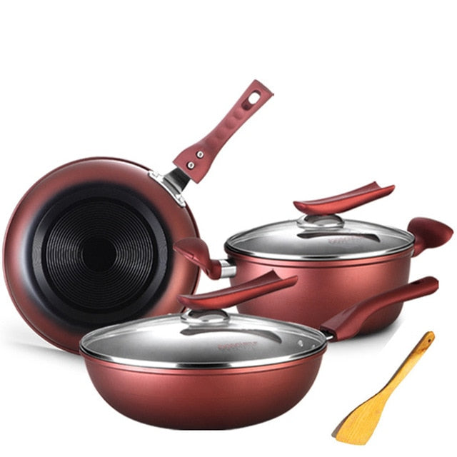 Promotional High Quality Red Non Stick Cookware Set of 6pcs With Many Gifts Kitchen Cookware Set