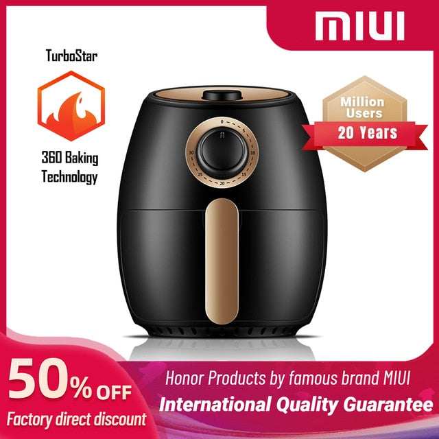 MIUI Smart Air Fryer without Oil Home Cooking Turbostar patent 2L/2.6L Cold rolled metal disposable molding Rock solid Classical