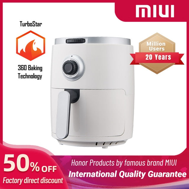 Air Fryer without Oil Home Intelligent  3L Large Capacity Multifunction Electric Deep Fryer 1200W Professional-Design Turbostar