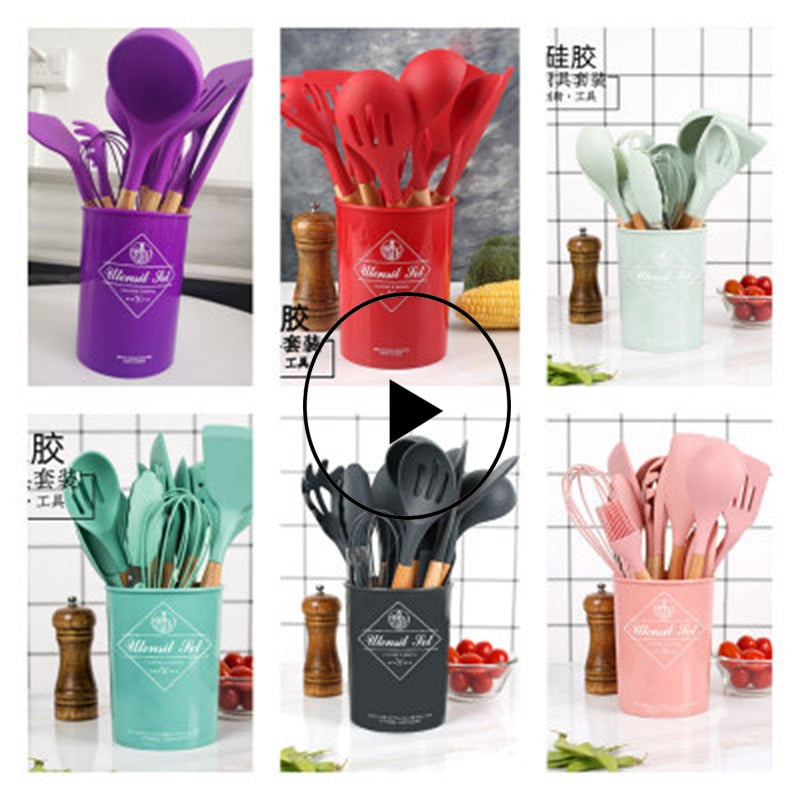 Kitchen Cooking Cookware Non-stick Pan Kitchenware Kitchen Bar Utensils High Temperature Resistant Silicone Cookware Set